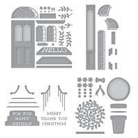 Spellbinders - Open House Collection - Etched Dies - Open House Door Base, Door Side Panel, Topiary, Sentiment Steps - Complete Bundle