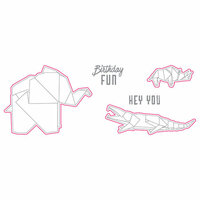 Spellbinders - Origami Love Collection - Die and Clear Acrylic Stamp Set - Hey You Folds