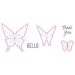 Spellbinders - Origami Love Collection - Die and Clear Acrylic Stamp Set - Hello Butterfly