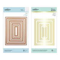 Spellbinders - Glimmer Hot Foil Collection - Duo Lines Glimmer Plates and Etched Dies - Essential Rectangles