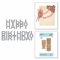 Spellbinders - Exquisite Splendor Collection - D-Lites Die - Happy Birthday Banner