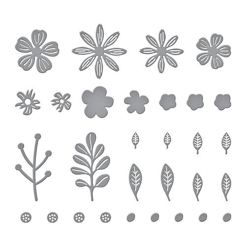 Spellbinders - Slimline Collection - Etched Dies - Mini Blooms and Sprigs