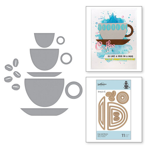 Spellbinders - Cuppa Coffee, Cuppa Tea Collection - D-Lites Die - Cup and Beans