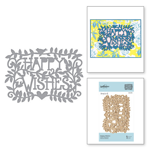 Spellbinders - Happy Collection - Shapeabilities Dies - Etched Dies - Happy Wishes