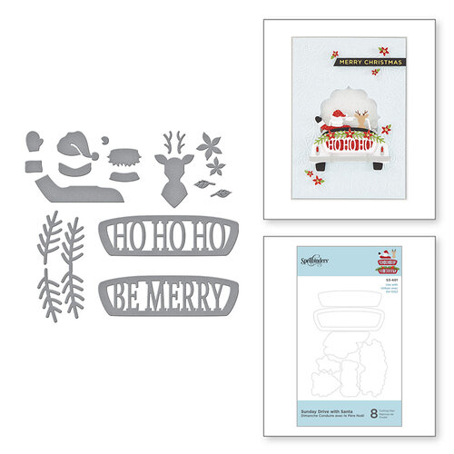 Spellbinders - Sparkling Christmas Collection - D-Lites Die - Etched Dies - Sunday Drive with Santa