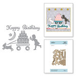 Spellbinders - Happy Collection - Shapeabilities Dies - Etched Dies - Sending A Happy Birthday