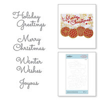 Spellbinders - Sparkling Christmas Collection - Etched Dies - Christmas Mix and Match Sentiments
