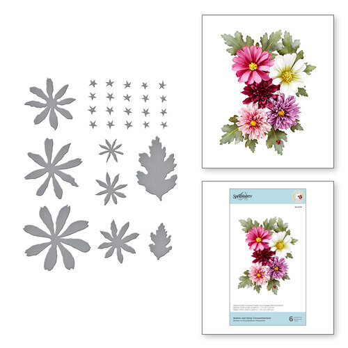 Spellbinders - Susan's Autumn Flora Collection - Etched Dies - Button and Daisy Chrysanthemum