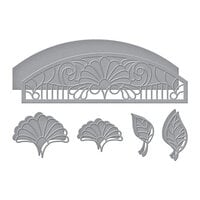 Spellbinders - Stained Glass Bouquet Collection - Etched Dies - Fan Flower Transom