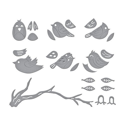 Spellbinders - Birdhouses Through The Seasons Collection - Dies - Sweet Birds On A Branch