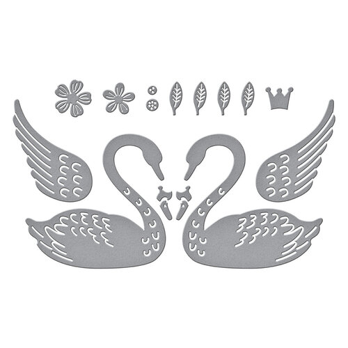 Spellbinders - Truly Yours Collection - Etched Dies - Heart Swans
