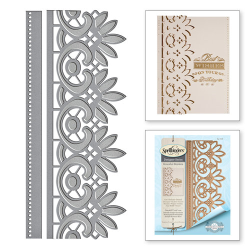 Spellbinders - Graceful Borders Collection - Card Creator - Die - Graceful Floral Lace