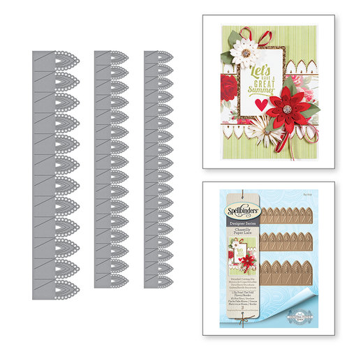 Spellbinders - Chantilly Paper Lace Collection - Shapeabilities Dies - Lilly Pearl Flat Fold Flower and Border