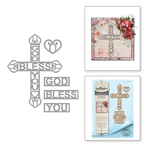 Spellbinders - Thoughtful Expressions Collection - Etched Dies - God Bless You Cross