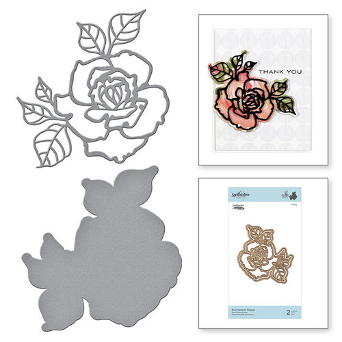 Spellbinders - Good Vibes Only Collection - Etched Dies - Rosy Summer Flowers
