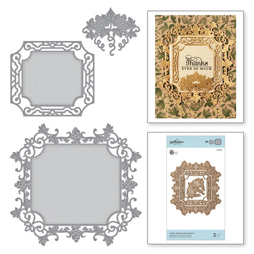 Spellbinders - Wine Country Collection - Nestabilities Die - Label 59 Decorative Accents