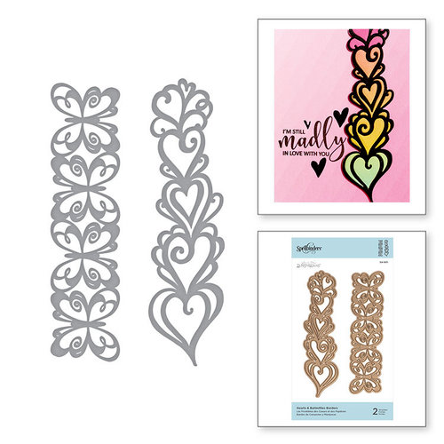 Spellbinders - On the Wings of Love Collection - Etched Dies - Hearts and Butterflies Borders