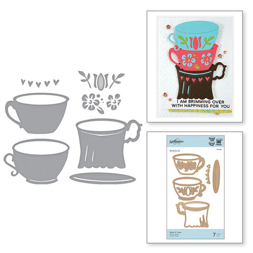 Spellbinders - Cuppa Coffee, Cuppa Tea Collection - Shapeabilities Dies - Stack O' Cups
