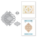 Spellbinders - Vintage Treasures Collection - Shapeabilities Dies - Etched Dies - Marquise Diamond Pendant