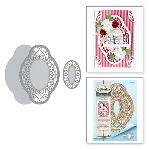 Spellbinders - Chantilly Paper Lace Collection - Shapeabilities Dies - Hannah Elise Layering Frame Small