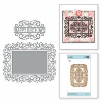 Spellbinders - Blooming Garden Collection - Etched Dies - Happy Birthday Frame