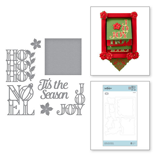 Spellbinders - Christmas Cascade Collection - Etched Dies - Holiday Word Blocks