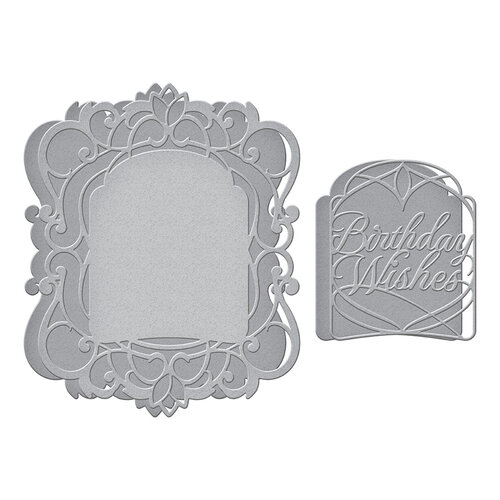 Spellbinders - Beautiful Sentiment Vignettes Collection - Etched Dies - Birthday Wishes Vignette