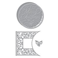 Spellbinders - Holiday Medley Collection - Christmas - Etched Dies - Merry Filigree Card Builder