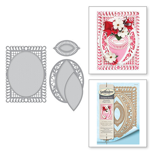 Spellbinders - Chantilly Paper Lace Collection - Shapeabilities Dies - Bella Rose Lattice Layering Frame Large