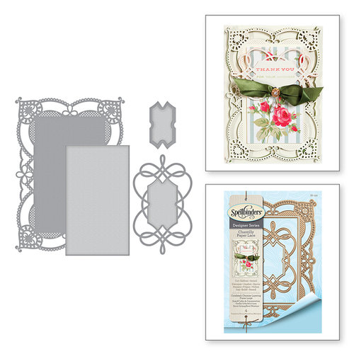 Spellbinders - Chantilly Paper Lace Collection - Shapeabilities Dies - Coralene's Chemise Layering Frame Large