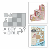 Spellbinders - Thoughtful Expressions Collection - Etched Dies - Baby Step Block Card