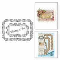 Spellbinders - Thoughtful Expressions Collection - Etched Dies - Thinking of You Scalloped Rectangle