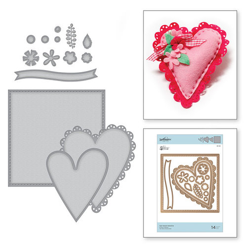 Spellbinders - Sew Sweet Collection - Shapeabilities Dies - Sew Sweet Valentine