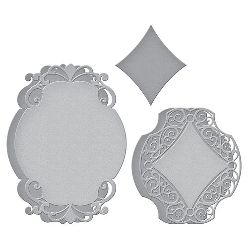 Spellbinders - Beautiful Sentiment Vignettes Collection - Etched Dies - Romantic Chargeour