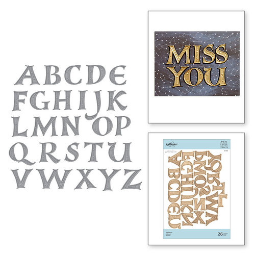 Spellbinders - On the Wings of Love Collection - Etched Dies - Alphabet