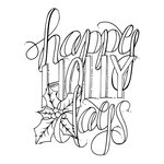 Spellbinders - Tammy Tutterow Collection - Christmas - Clear Acrylic Stamps - Happy Holly Days