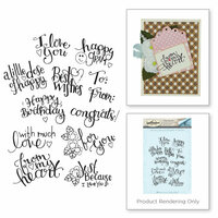 Spellbinders - Happy Grams 3 Collection - Cling Mounted Stamps - Tiny Sentiments
