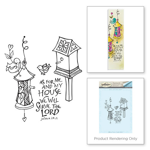 Spellbinders - Bible Journaling Collection - Clear Acrylic Stamps - Birdhouse