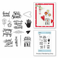 Spellbinders - Sew Sweet Collection - Clear Acrylic Stamps - Sew Tiny Sentiments