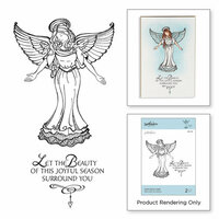 Spellbinders - Zenspired Holidays Collection - Christmas - Cling Rubber Stamps - Joyful Season Angel