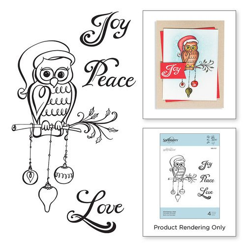 Spellbinders - Zenspired Holidays Collection - Christmas - Cling Rubber Stamps - Christmas Owl