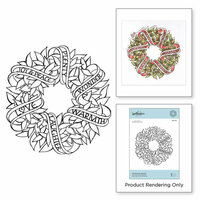 Spellbinders - Zenspired Holidays Collection - Christmas - Cling Rubber Stamps - Sentiments Wreath