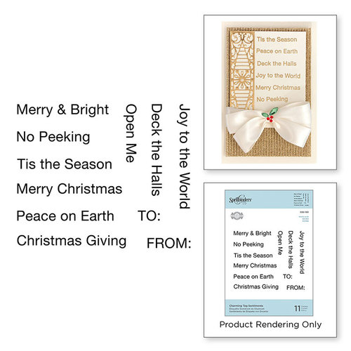 Spellbinders - A Charming Christmas Collection - Cling Mounted Rubber Stamps - Charming Tag Sentiments