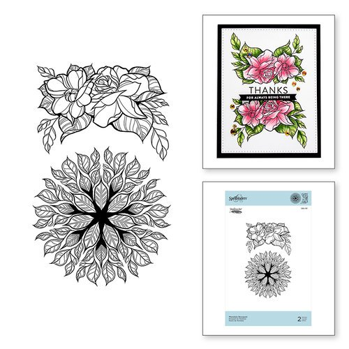 Spellbinders - Just Add Color Collection - Cling Mounted Rubber Stamps - Mandala Bouquet