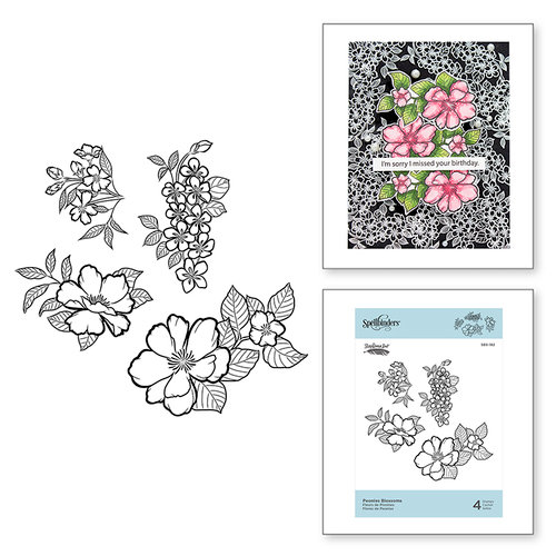 Spellbinders - Just Add Color Collection - Cling Mounted Rubber Stamps - Peonies Blossoms