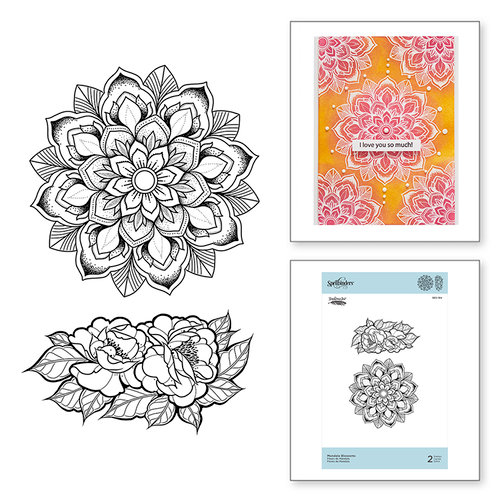 Spellbinders - Just Add Color Collection - Cling Mounted Rubber Stamps - Mandala Blossoms