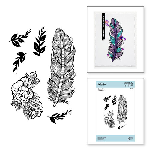 Spellbinders - Just Add Color Collection - Cling Mounted Rubber Stamps - Botanical Feather