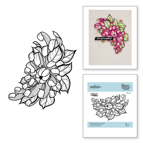 Spellbinders - Just Add Color Collection - Cling Mounted Rubber Stamps - Chrysanthemum Cutie