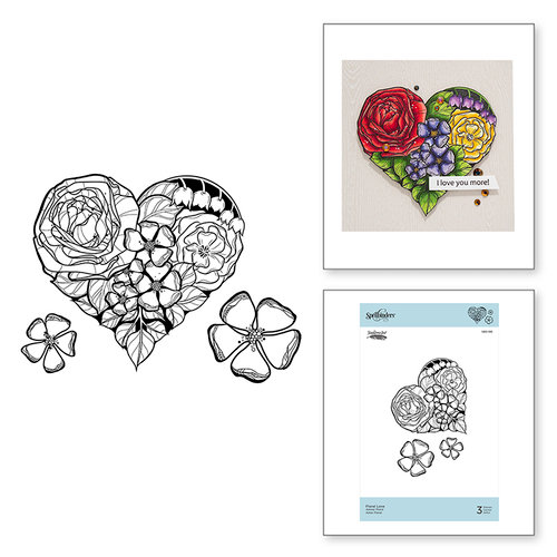 Spellbinders - Just Add Color Collection - Cling Mounted Rubber Stamps - Floral Love