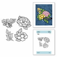 Spellbinders - Just Add Color Collection - Cling Mounted Rubber Stamps - Large Peonies